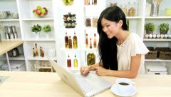 Asian Chinese Female Wireless Laptop Kitchen - stock footage