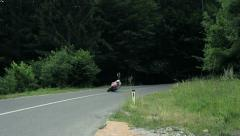 Sport Motorcycle Cornering Downhill Stock Footage