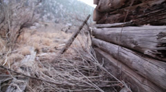 Old cabin outside dolly Stock Footage