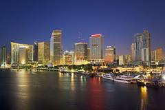 Miami city skyline at night, Dade County, Florida, United States - stock photo