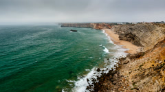 Tonel Beach and Atlantic Ocean near Sagres, Time Lapse, Algarve, Portugal Stock Footage