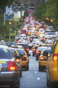 Taxis in rush hour traffic Stock Photos