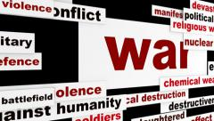 War armed conflict message Stock Footage