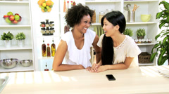 Girls Chatting Friends Using Smart Phone Video Messaging Stock Footage