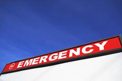 Sign directing to Emergency Room Stock Photos