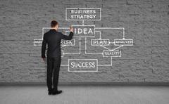 man drawing business plan - stock photo