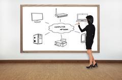 Woman drawing computer network Stock Photos