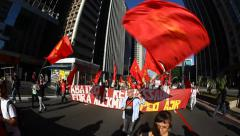 People protest against corruption, poverty, cost of living, Sao Paulo, Brazil - stock footage