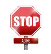 stop aging road sign illustration design - stock illustration