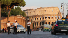New road rules in Rome around the Colosseum Stock Footage