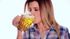 Cute girl drinking a beer Stock Footage