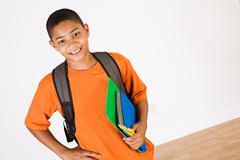 student: boy ready for school - stock photo