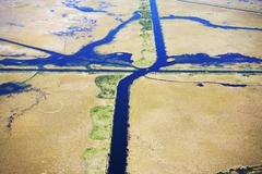 Aerial view of marsh Stock Photos