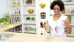 Stock Video Footage of Healthy Ethnic Girl Fresh Glass Water