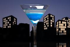 Metropolis blue martini Stock Illustration