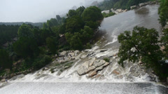 Torrential waterfall & spray cover stone,Mountain Tai-shan. Stock Footage