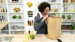 Ethnic Career Woman Healthy Fruit Vegetables Stock Footage