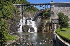 USA, New York State, Croton, Dam and waterfall under bridge - stock photo