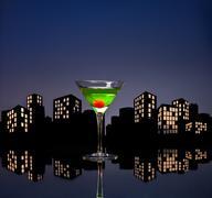 metropolis apple martini - stock illustration