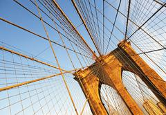 USA, New York State, New York City, Span of Brooklyn Bridge - stock photo
