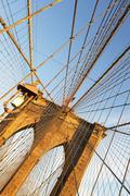 USA, New York State, New York City, Span of Brooklyn Bridge Stock Photos