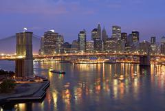 Stock Photo of USA, New York State, New York City, Brooklyn Bridge and Manhattan skyline