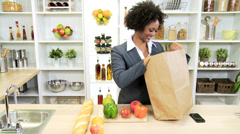 Healthy Businesswoman Shopping Bag Fresh Fruit - stock footage