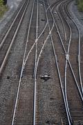 USA, New York, Long Island, railroad tracks Stock Photos