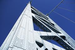 USA, Pennsylvania, Philadelphia, Span of Ben Franklin Bridge against blue sky Stock Photos