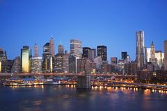 USA, New York State, New York City, Brooklyn Bridge and Manhattan skyline at - stock photo