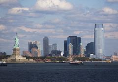 Stock Photo of USA, New York City, Skyline with Statue of Liberty