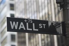 USA, New York City, Manhattan, Wall Street sign Stock Photos