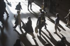 USA, New York City, commuters in motion Stock Photos