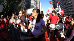 Samba! People protest against corruption, poverty, cost of living, Sao Paulo Stock Footage