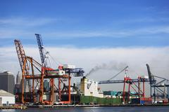 USA, New York City, cargo ship in dock Stock Photos