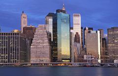 USA, New York City, Manhattan skyline at dusk - stock photo
