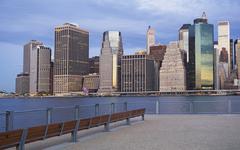 USA, New York City, Manhattan skyline at dusk - stock photo