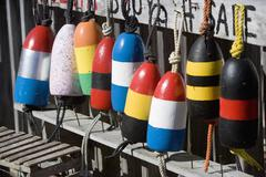 USA, New York, Peconic, colorful buoys Stock Photos