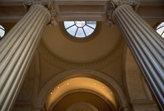 USA, New York City, Metropolitan Museum of Art, low angle view of interior - stock photo