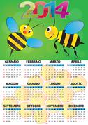 Stock Illustration of 2014 bee calendar