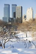 Stock Photo of USA, New York City, View of Central Park in winter with Manhattan skyline in