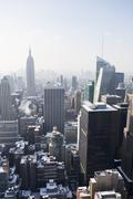 USA, New York City, View of Manhattan covered with snow, with Empire State - stock photo