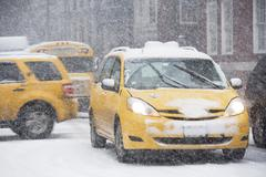 USA, New York City, traffic in blizzard - stock photo