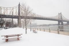 USA, New York City, Queensboro Bridge in winter Stock Photos