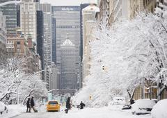 USA, New York City, Park Avenue in winter Stock Photos