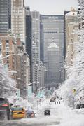 USA, New York City, Park Avenue in winter - stock photo