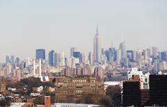 USA, New York City, Brooklyn, skyline of Manhattan Stock Photos