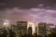 USA, New York State, New York City, City Skyline at night - stock photo
