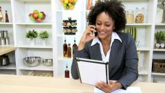 Freelance African American Businesswoman Working Home Smart Phone Tablet Stock Footage