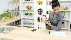 Smart Businesswoman Kitchen Counter Using Wireless Technology - stock footage